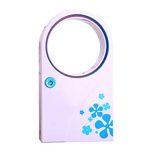 LIOOBO Été Portable Portable Mini Climatiseur Électrique Sans Ventilateur Aucune Feuille Air Ventilateur Refroidisseur USB ou État de la Batterie (Bleu)