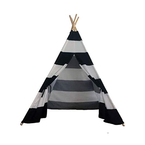 Quieting Kids Teepee Play Tent Children Large Cotton Canvas Indian Wigwam Playhouse Indoor Black Stripes