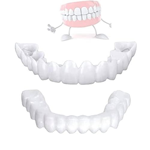 CFSYS Dentales Temporales Frenos Cosméticos, Reutilizable Superior y Inferior Dentadura Sonrisa Confort Ajuste Flex Dientes, para Hombres y Mujeres, 2 Pares