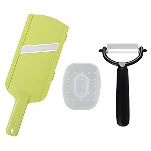 iMounTEK Double Edged Ultra Sharp Ceramic Peeler Mandoline Slicer With Hand Guard Durable Rust Proof Dishwasher Safe