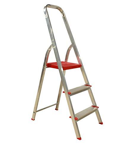 Escalera Plegable 3 peldaños Aluminio, Escalera de Tijera Resistente y Ligera, Antideslizante, Uso domestico, soporta hasta 150 kg.