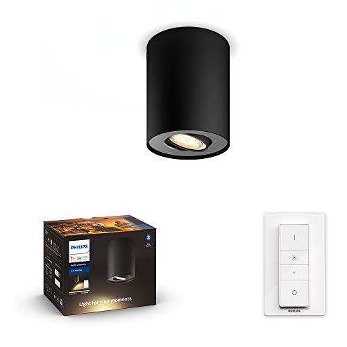Philips Hue White Amb. LED 1-er Spotleuchte Pillar inkl. Dimmschalter, schwarz, dimmbar, alle Weißschattierungen, steuerbar via App, kompatibel mit Amazon Alexa (Echo, Echo Dot)