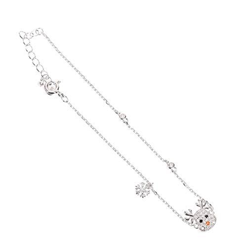 PRETYZOOM Christmas Jewelry Reindeer Bangles Bracelet Bling Beads Chain Link Adjustable for Women Girls