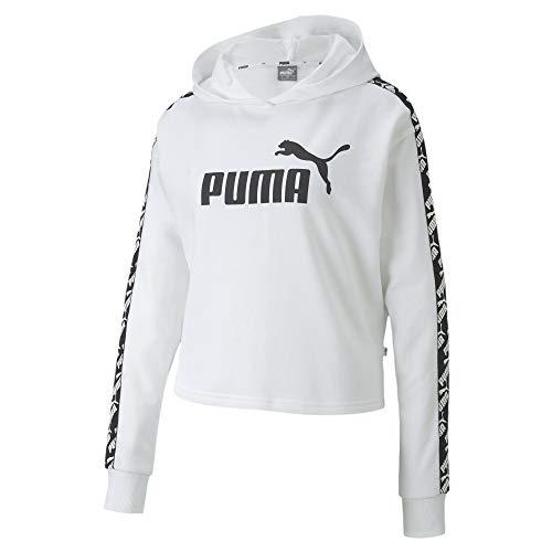 PUMA Amplified Cropped Hoody TR Sudadera con Capucha, Mujer, Blanco, S