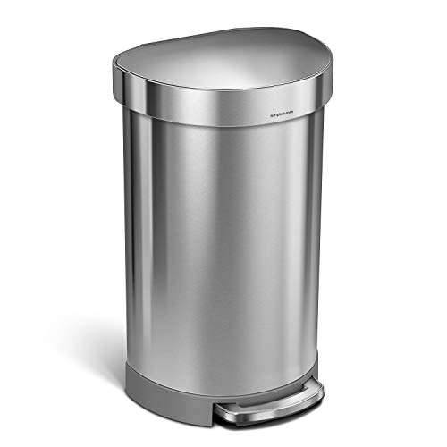 simplehuman Semi-Round Step Trash Can with Liner Rim, 45 L (12 Gal), Brushed Stainless Steel