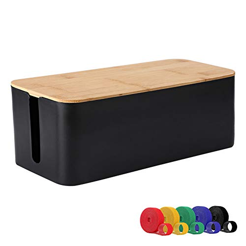 ShellKingdom Cable Management Box, Wood Grain Cable Organizer for Cable and Cord Management, Storage and Holder to Cover and Hide & Power Strips & Cords (L, Black)