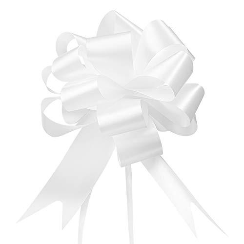 GWHOLE 60 Piezas Lazo Blanco Boda Decoración para Boda, Coches de Boda Adorno, Comuniones, Fiesta, Diseño de Escena, Embalaje de Regalo