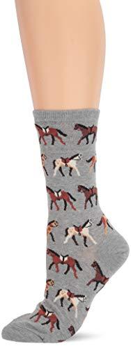 Hot Sox Women's Animal Series Novelty Casual Crew, horses (Grey Heather), Shoe Size: 4-10 (Sock Size: 9-11)