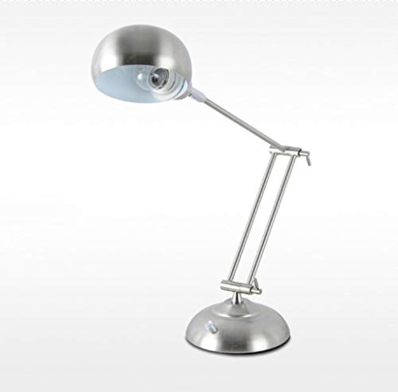 HN Lighting Tischlampe, Langarm Metall Rotierende Studie Büro Student Study Arbeitsgerte LED Lichtquelle Auge Lernen Tischlampe, Tischlampe (Farbe   Silber)