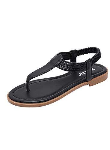 CORAFRITZ Sandales plates d'été tendance pour femme avec sangle élastique - Pour un usage quotidien - Noir - 5