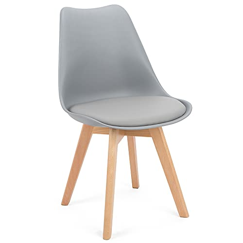 BlueOcean - Set di 4 sedie da pranzo in legno massiccio, gambe in stile retrò, design classico, in morbida pelle PU, imbottito, per casa, cucina, caffè, ufficio