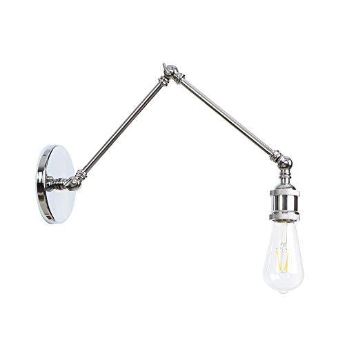 Wandleuchte Schwenkarm Wand Lampe Korridor Balkon Wandlampen Industrielle Eisen Wandleuchte Chrom(20 cm+20 cm)