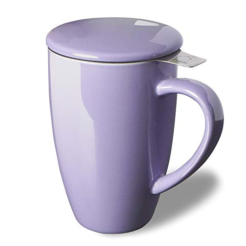 SWEEJAR Porcelain Tea Mug with Infuser and Lid,Teaware with Filter, Loose Leaf Tea Cup Steeper Maker, 16 OZ for Tea/Coffee/Milk/Women/Office/Home/Gift(Purple)