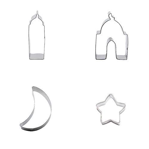 4 Metal Cookie Cutter Set Lucky star Moon Mosque Biscuit Pastry Fondant Gingerbread Cake Mold
