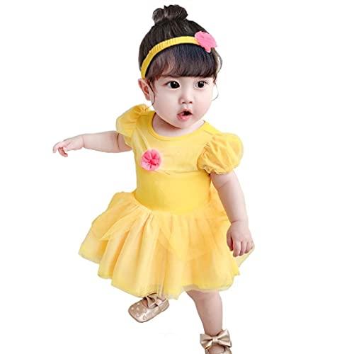 Lito Angels Disfraz de Princesa la Bella y la Bestia para Bebé Niñas Body Mono Mamelucos Onesie Vestido de Fiesta Navidad Halloween Cumpleaños con diadema Amarillo Talla 9 a 12 Meses