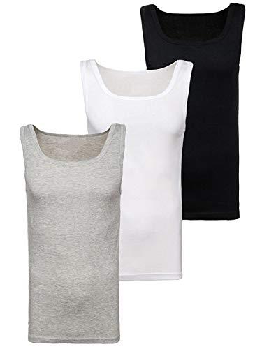 BOLF 3er Pack Herren Tank Top Unterhemd Muskel Shirt Rundhals Basic Casual Baumwollmischung Modellauswahl Unifarben JUST Play C10008 L [3C3]