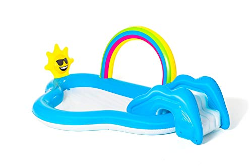 Bestway 53092 waterspeelcenter met kinderbadje Rainbow n' Shine 257 x 145 x 91 cm, kleur