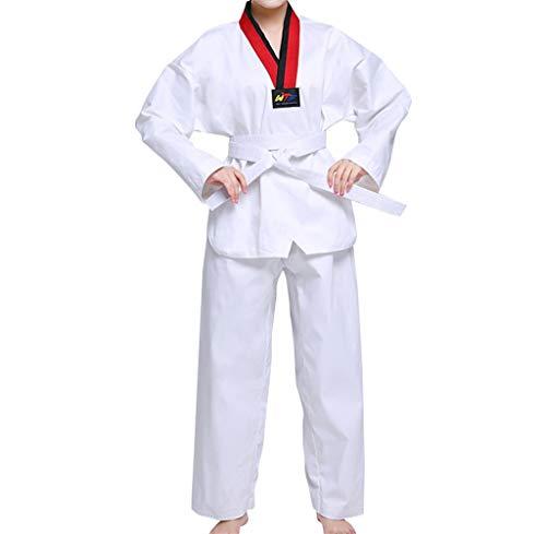 Dintang Trajes de Taekwondo para Trajes de Artes Marciales para niños Unisex para Adultos Estudiantes Principiantes Entrenador Manga Larga Cinturones de Manga Corta Kung fu Ropa Traje Algodón