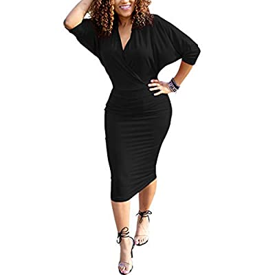 HOOYON Plus Size Dress Women's Off Shoulder Long Sleeve Shiny Bodycon Mini Dress