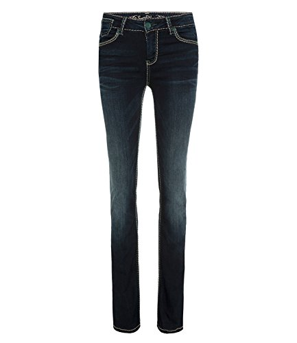 SOCCX Damen Bootcut Jeans CO:LE in Blue Black Used