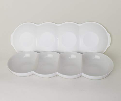 TUPPERWARE Allegra Servierschale Servierquartett Perle Weiß/Silber + Deckel Weiß für Perle + Eiswürfeleinsatz für EcoEasy Flaschen