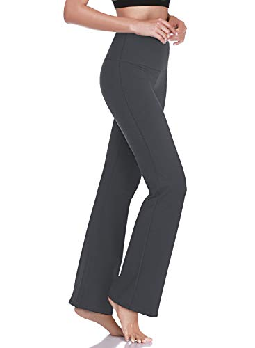 HISKYWIN 27'/29'/31'/33' Inseam Petite/Regular Womens Bootcut Yoga Pants, Tummy Control Workout Running Bootleg Flare Pants F202-Dark Grey-L