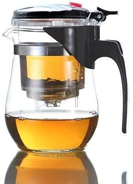 Tetera de Vidrio Tetera Café Gongfu Teaset Press Auto-Open Art Taza de té Verde con colador Infusor Accesorios de té