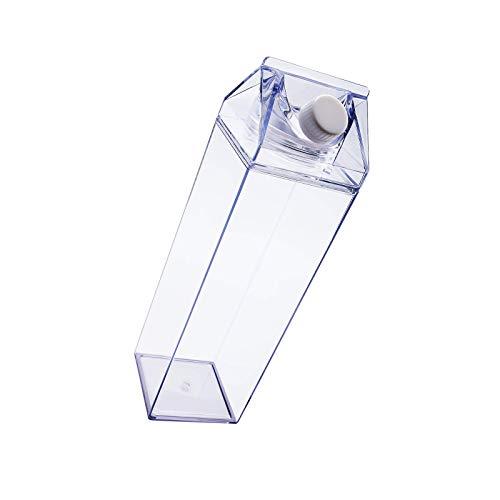 litulituhallo Botella de agua del cartón de la leche de 1000Ml/34oz, botella cuadrada clara del jugo de agua del recambio a prueba de fugas de la botella de leche