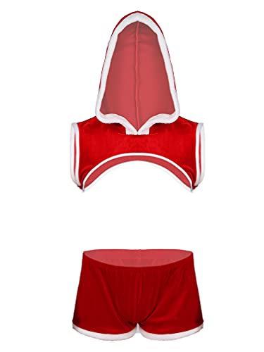 Moily Men's Deluxe Santa Suit Faux Fur Sleeveless Hooded Crop Top with Boxer Shorts Outfits Red Large