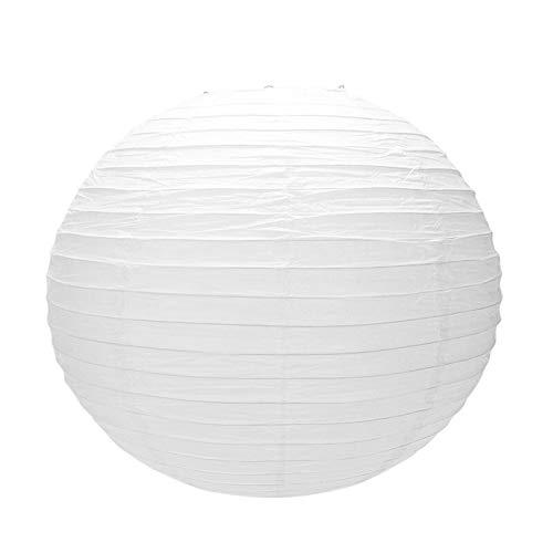WWWL Pantalla de lámpara de papel japonés chino para fiesta, boda, 50 cm, color blanco crema y beige