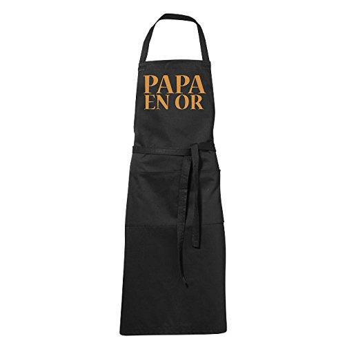 stylx design Tablier humoristique de cuisine noir PAPA EN OR