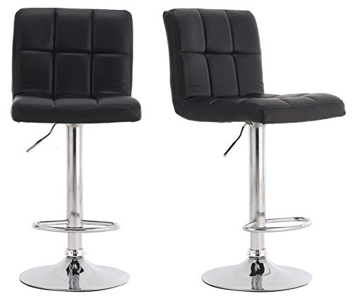 Millhouse Pair of Cuban Bar Stools Set with Backrest, Leatherette Exterior, Adjustable Swivel Gas Lift, Chrome Footrest and Base for Breakfast Bar, Counter, Kitchen and Home Barstools (Black)