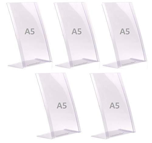 5 x A5 Póster de menú - Soporte de sobremesa - soportes para carteles de PVC flexibles en ángulo A5 irrompibles, soporte para mensajes, expositores, soportes para fotos, 100 % reciclables. 5 u