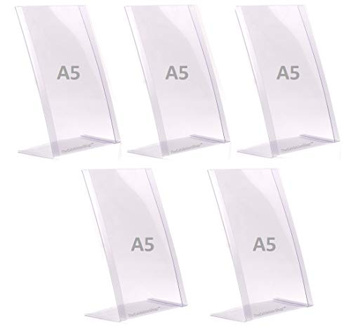 5 x Porta-avvisi da tavolo A5 - Espositore A5 da tavolo - Supporti per cartelli A5, menu, porta messaggio, poster, fotografie in PVC flessibile e indistruttibile, formato A5 - 5 pz -100% riciclabile