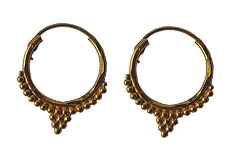 Sólido de 18 quilates genuino pendientes del aro de Diseño (18 quilates) Amarillo Oro Fino Hermosa