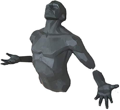 JJDSN Esculturas de decoracin de Pared de Hombre Masculino con Acabado de Bronce, estatuas de Arte Corporal 3D para Bar Coffee Club, Moderno y Creativo Colgante de Pared de Torso Humano Verde gra
