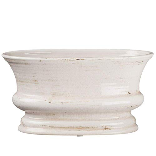 Sullivans White Ceramic Oval Vase for Home Decor, Distressed White for Rustic Farmhouse Look (CM2342)