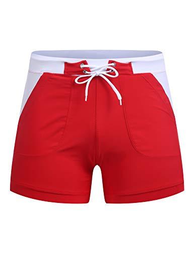 Coofandy Short de bain pour homme avec poches -  Rouge - Small
