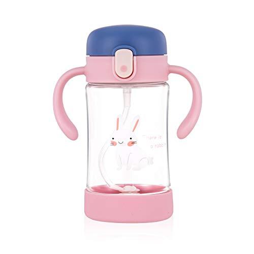 Botella para bebés ÜneeQbaby Active Plus con pajita flexible con 360º de movimiento con peso, a prueba de derrames, plástico Tritan sin BPA, abertura mediante un botón, 300 ml (Elsie Conejo Ro