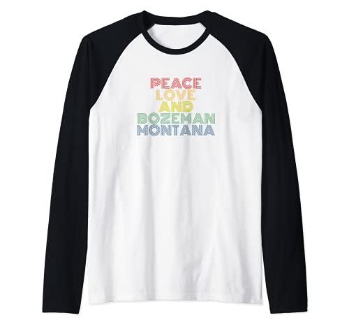 Paz amor Bozeman Montana arco iris igualdad Camiseta Manga Raglan