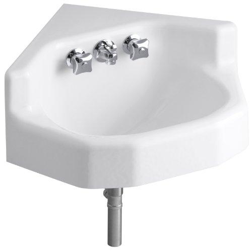 KOHLER K-2766-0 Marston Wall-Mount Corner Bathroom Sink, White