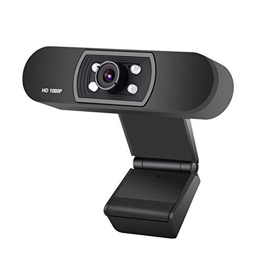 Webcams Telefonía VoIP Webcam 1080p Visión Nocturna Webcam, Webcam con micrófono, Webcam, para PC Video Live Broadcast (Color : Black)