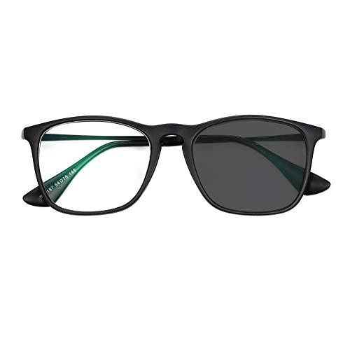 Gafas de Lectura Inteligentes Que cambian de Color, espejuelos de Forma Redonda Retro, Gafas de Sol fotocromáticas, Lentes de Confort Comfort Unisex, Marco de aleación + PC, Lente de Resina asférica