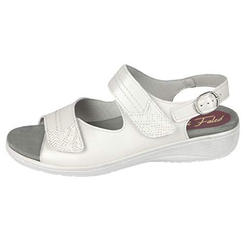 Cómoda Sandalia Mujer para Plantillas extraibles Color Blanco Hielo Ideal para Esta Temporada Primavera - Verano 2019 para pies delicados Anchos Especiales 0005 (37 EU)