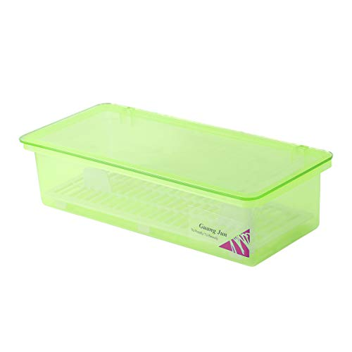 BESTONZON Boite de Rangement Couverts avec Couvercle et Égouttoir Couverts Vaisselle Baguettes Organisateur de Rangement Cuisson Antipoussière Transparent Vert