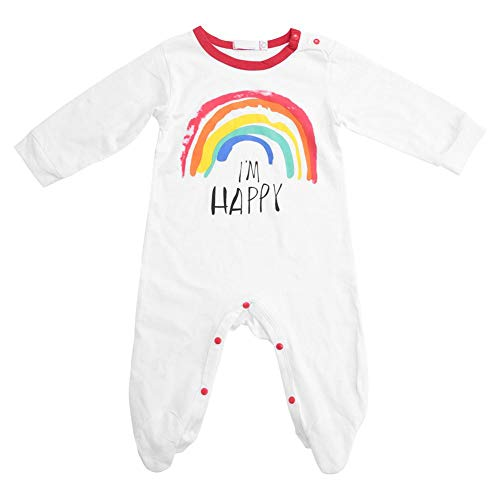 Pasgeboren Jumpsuit Klimpak met lange mouwen Leuke Regenboog Print Baby Meisjes Outfits 90