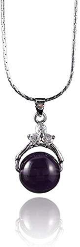 Yaoliangliang Joyería Elegante para Mujer, Collar de Cadena con Colgante de Diamantes de imitación de Cristal Redondo, joyería