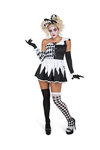 Karnival Kostuums 81242 Boze Harlekijn Meisje Kostuum, Vrouwen, Zwart en Wit, Extra Groot