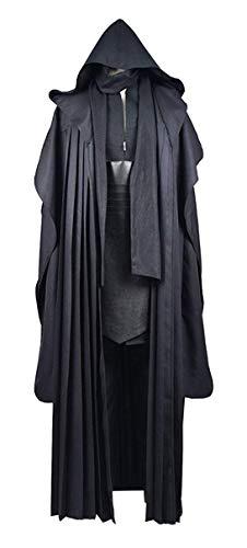 Rongxu Tnica negra con capucha y cinturn para hombre, conjunto completo de tnica para adultos, disfraz clsico de Halloween, disfraz de cosplay, talla EE. UU. - negro - XX-Large