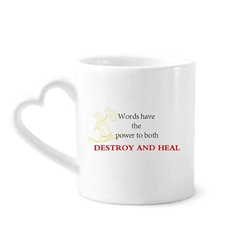 DIYthinker Wörter haben Power Buddha Kaffeetassen Keramik Keramik-Cup-Zitat zu heilen mit Herz-Handle 12 Unzen Geschenk Mehrfarbig